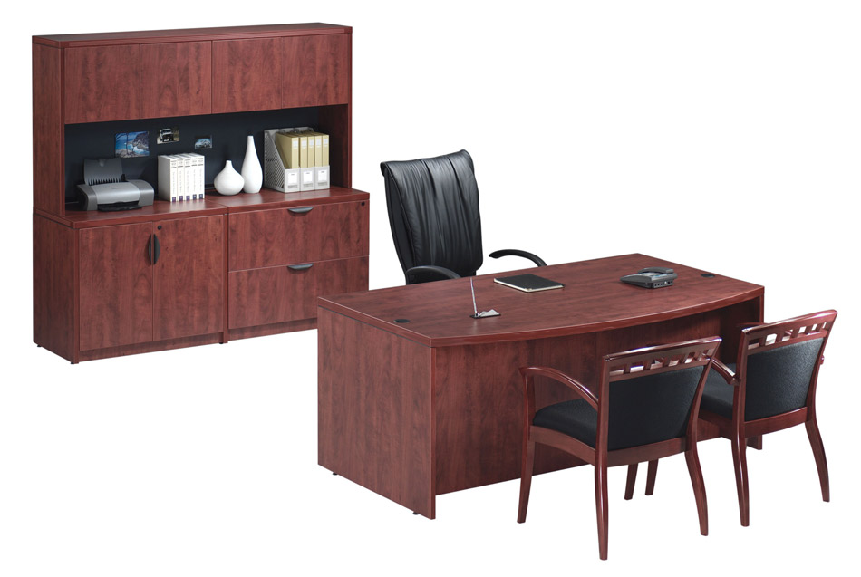 Ndi Office Furniture Executive Bow Front Desk W Lateral File Hutch Pl10 Pl166 Executive