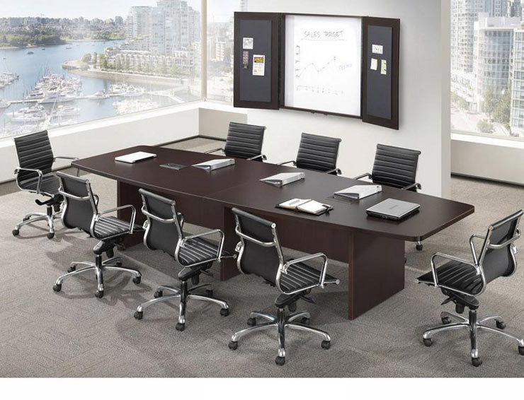 Ndi Office Furniture Boat Shape Conference Table W Slab Base L - Espresso conference table
