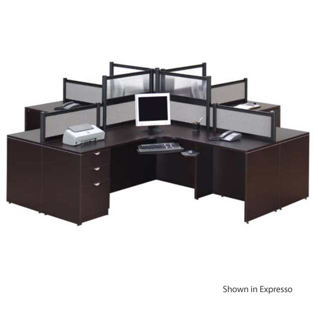 Office Table For 4 Person: Ndi Office Furniture Complete Four Person Workcenter Suite