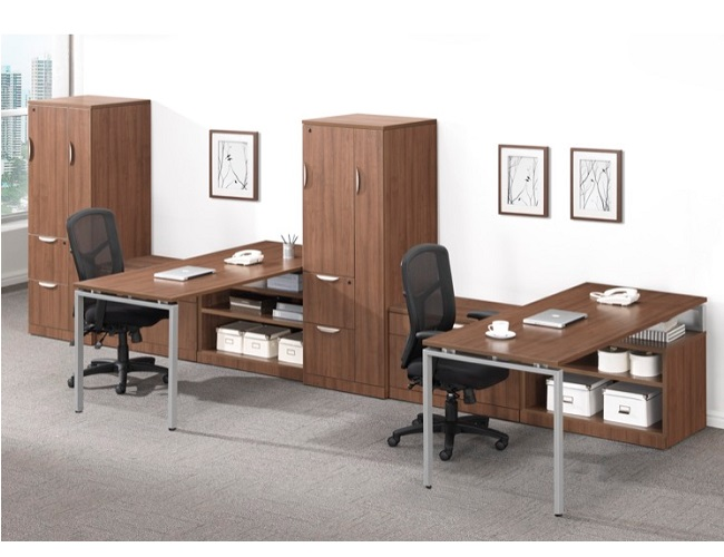 Ndi Office Furniture Elements Two Person Workstation W Wardrobe Storage Plt27 Office Suites