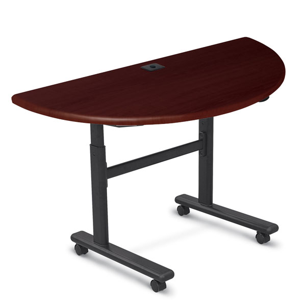 90323 High Adjustable Height Flipper Table Half Round