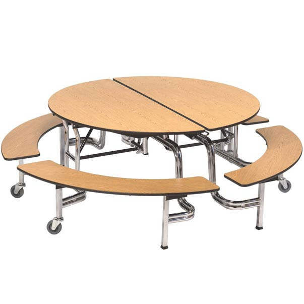 Amtab Mobile Round Cafeteria Table With Benches Mbr604