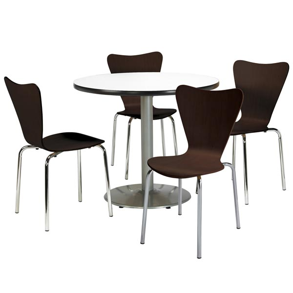 Silver Base Cafe Table With Four 3888 Stack Chairs- 42  Round by KFI Seating T42RDSL/3888X4 - Stock #97460-R  sc 1 st  Worthington Direct & Kfi Seating Silver Base Cafe Table With Four 3888 Stack Chairs- 42 ...