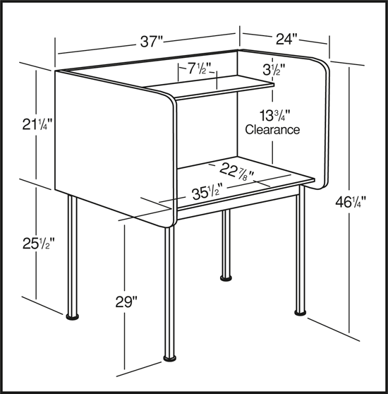 Classroom Furniture Dimensions ~ Smith carrel study single unit fixed height