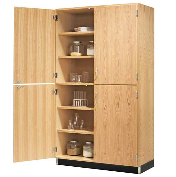 Diversified Woodcrafts Split Level Storage Cabinet With Veneer Doors
