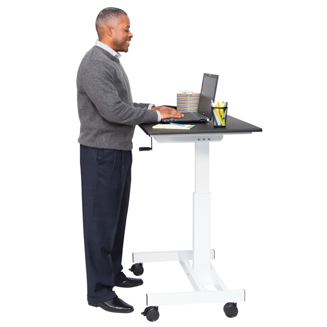 Luxor Crank Adjustable Single Column Stand Up Desk