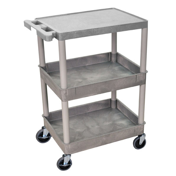 Luxor Heavy-Duty Utility Cart W/ 2 Tub Shelves & Flat Top Shelf (18