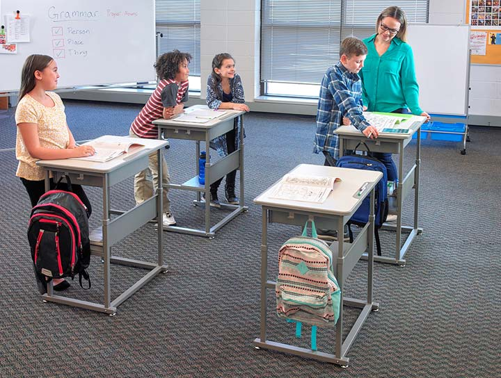 Sit and Stand Student Desk by Luxor