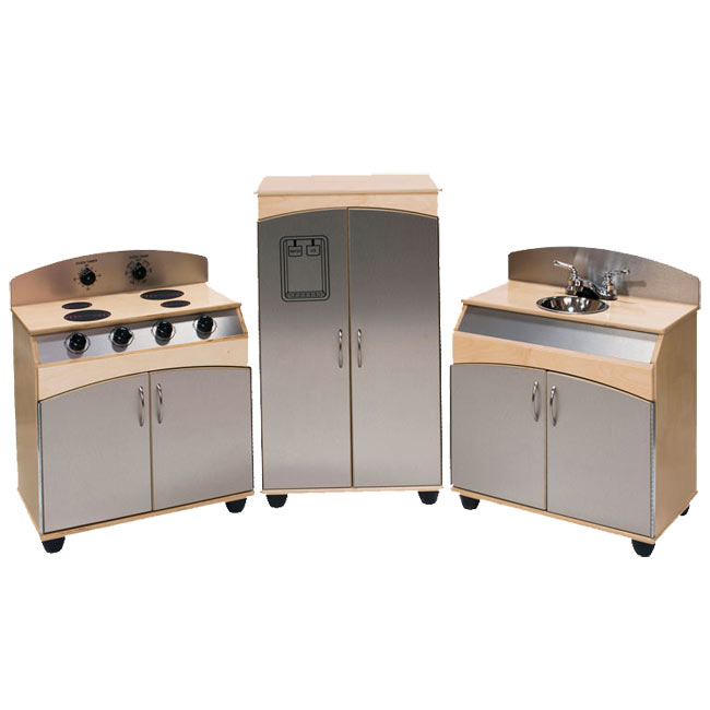 Angeles 3 piece faux stainless steel play kitchen set for Fake kitchen set