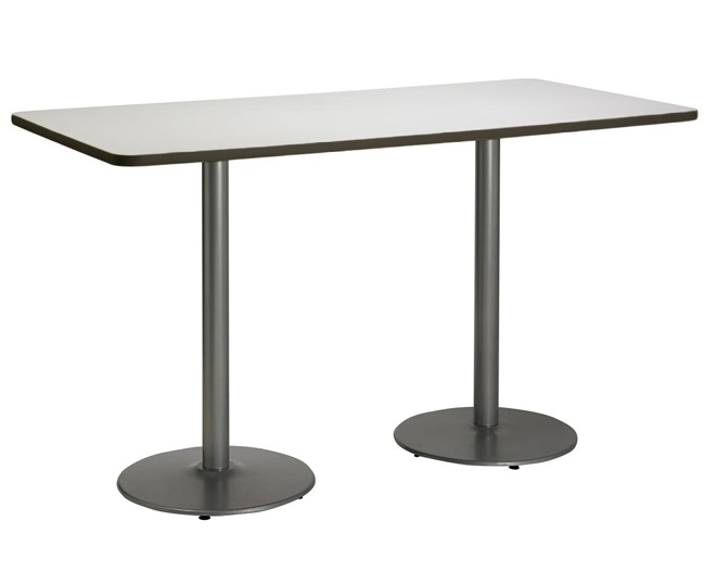 Kfi seating bar height cafe table w silver round base 36 x 72 t3672 b1922rdx2 sl 38 bar height cafe table watchthetrailerfo