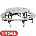 Mobile Round Cafeteria Tables with Bench by AmTab