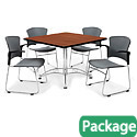Click here for more Breakroom Table & Four Plastic Chairs w/ Armrests by OFM by Worthington