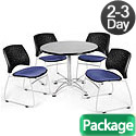 Breakroom Table & Four Star Series Fabric Chairs by OFM