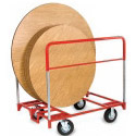 "48, 60 or 72"" Round Folding Table Trucks with Rubber Tires by Raymond"