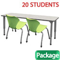 Click here for more Classroom Set- 10 Double Apex Desks & 20 Chairs by Marco Group by Worthington
