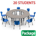 Click here for more Classroom Set- 20 Trapezoid Apex Desks & Chairs by Marco Group by Worthington