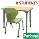 Click here for more Classroom Set- 8 Single Apex Desks & Chairs by Marco Group by Worthington