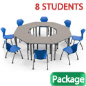 Click here for more Classroom Set- 8 Trapezoid Apex Desks & Chairs by Marco Group by Worthington