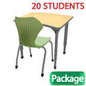 Click here for more Classroom Set- 20 Single Apex Curve Desks & Chairs by Marco Group by Worthington