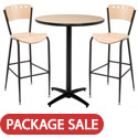 Arched Base Bar Height Cafe Table with Two BR3818A Barstools by KFI