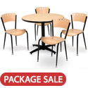Arched Base Cafe Table with Four 3818A Cafe Chairs by KFI
