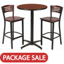 Click here for more Arched Base Bar Height Cafe Table with Two BR3315B Barstools by KFI by Worthington