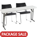 Click here for more Folding Table & Sled Base Stack Chair Packages by National Public Seating by Worthington