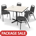 Click here for more X Base Cafe Table with Four IM820 Padded Vinyl Stack Chairs by KFI by Worthington