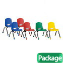 Click here for more Assorted Pack Stack Chairs w/ Chrome Legs by ECR4Kids by Worthington