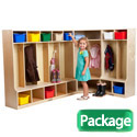 Click here for more Birch L-Shaped Kids Locker Set with Bench by ECR4Kids by Worthington