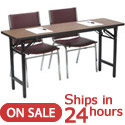 Click here for more Folding Training Table with Padded Stack Chairs by KFI by Worthington