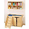 Birch Diaper Changer w/ Stairs and Wall Mount Organizer