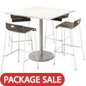 Click here for more Silver Base Cafe Table with JIVE Stack Stools by KFI by Worthington