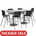 Click here for more Silver Base Cafe Table with Six Kool Barstools by KFI by Worthington