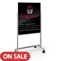 Visionary Move Mobile Black Glass Whiteboard by Best-Rite