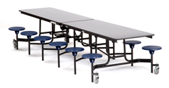 Mobile Stool Cafeteria Tables - Black Frame by NPS