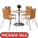 Click here for more Silver Base Cafe Table with Four Jive Stack Chairs by KFI by Worthington