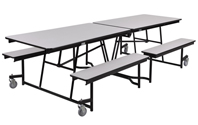 Mobile Bench Cafeteria Tables - Black Frame by NPS