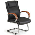Apex Series Leather Guest Chair with Wood Accents by OFM