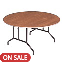 Round Stained Plywood Top Folding Tables by Amtab
