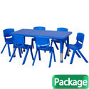 Click here for more Package - Plastic Resin Rectangle Activity Table & Chair Sets by ECR4Kids by Worthington