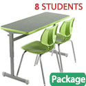 Click here for more Classroom Set - 4 Silhouette Double Desks & 8 Flavors Chairs by Smith System by Worthington