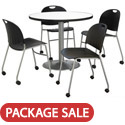 Click here for more Silver Base Cafe Table with Four Mobile Stack Chairs by KFI by Worthington