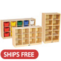 Small 10, 12 & 15 Cubbie Tray Birch Storage Units by ECR4Kids