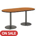 Click here for more Racetrack Café Tables w/ Round Silver Base by KFI by Worthington