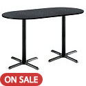 Click here for more Racetrack Bar Height Café Tables w/ Black X-Base by KFI by Worthington