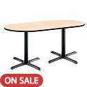 Click here for more Racetrack Café Tables w/ Black X-Base by KFI by Worthington