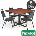 Click here for more Cain Base Cafe Table and Four Vinyl Stacker Chairs by Regency by Worthington