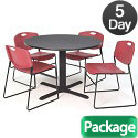 Click here for more Cain Base Cafe Table and Four Zeng 4400 Chairs by Regency by Worthington