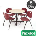 Kobe Base Cafe Table and Four M Stacker 4700 Chairs by Regency